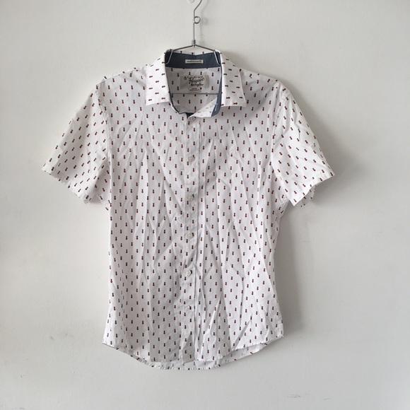 de89caf5 Men's Pineapple Print Button Short Sleeve Shirt. M_5a340d5146aa7cbba300a610